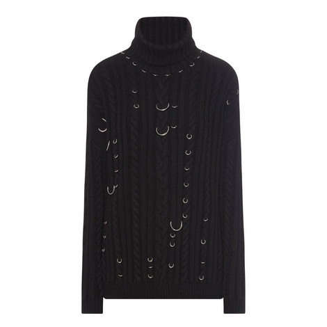 Embellished Cable Knit Polo Sweater, ${color}