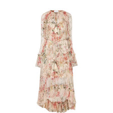 Long Sleeve Floral Crêpe Dress