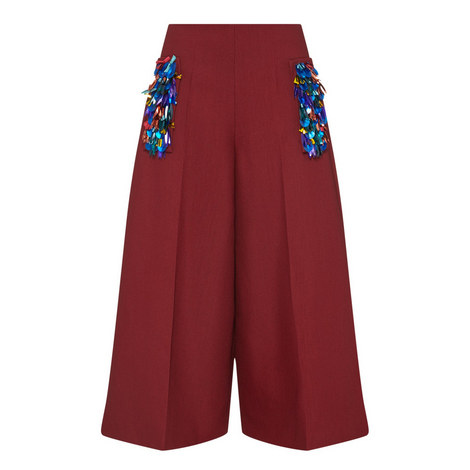 Embroidered Sequin Culottes, ${color}