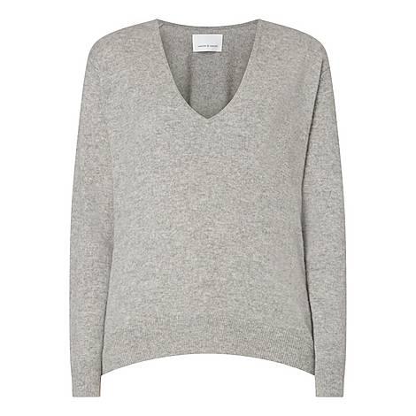 Boston V-Neck Cashmere Sweater, ${color}