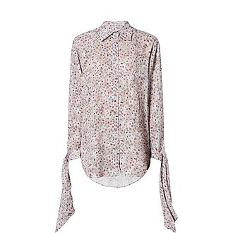People Print Knotted Sleeve Blouse