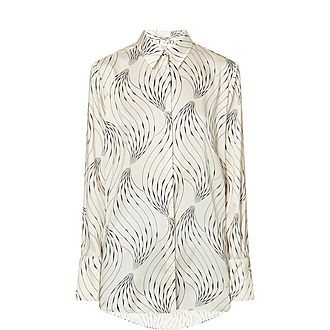 Swirling Print Silk Shirt