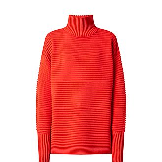 Curved Sleeve Turtleneck Sweater