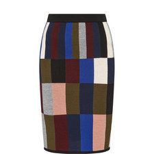 Colour-Block Stripe Skirt