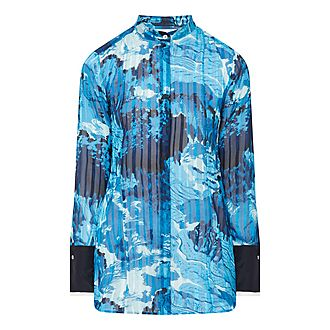 Pleated Print Shirt