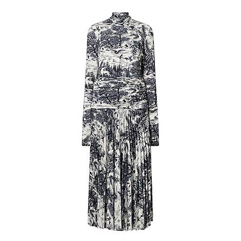Forest Print Pleated Dress, ${color}