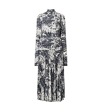 Forest Print Pleated Dress