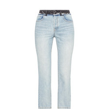 Cropped Contrast Waistband Jeans