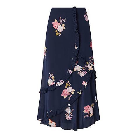 Ruffled Silk Skirt, ${color}