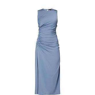 Ruched Waist Satin Midi Dress