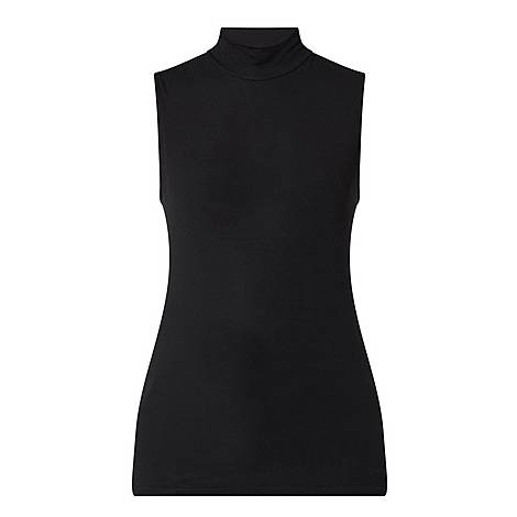 Ribbed Sleeveless Turtleneck Top, ${color}