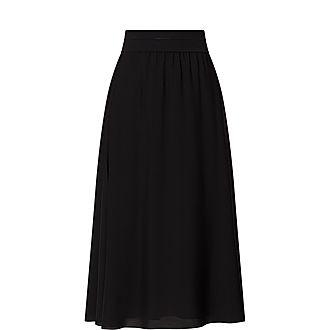 Silk-Crepe Midi Skirt