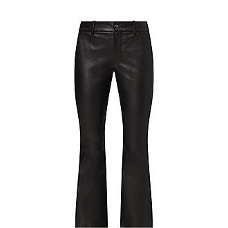 Crop Flare Leather Trousers