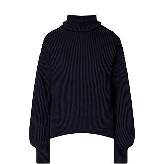 Wool Cotton Roll Neck Sweater