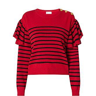 Ruffle Knit Striped Sweater