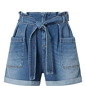 Denim Gathered Waist Shorts