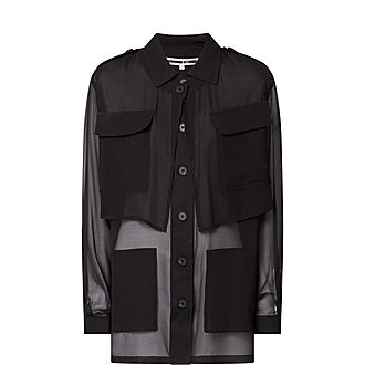 Chiffon Sheer Shirt Jacket
