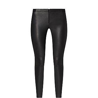 Zip Leather Leggings