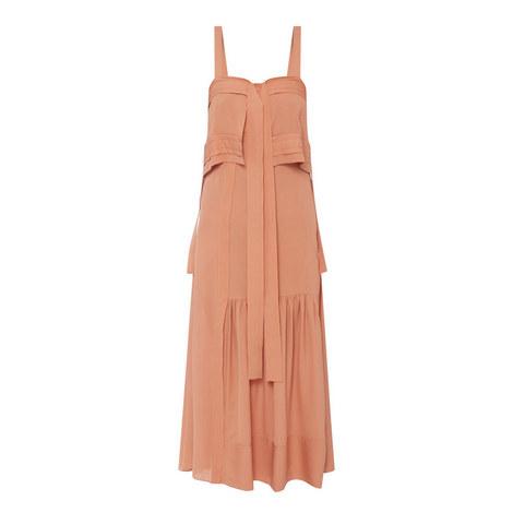 Silk Tie Gown Dress, ${color}