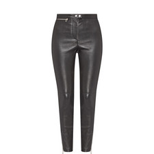 Zip Detail Leather Trousers