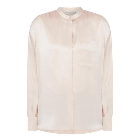 Band Collar Silk Blouse, ${color}