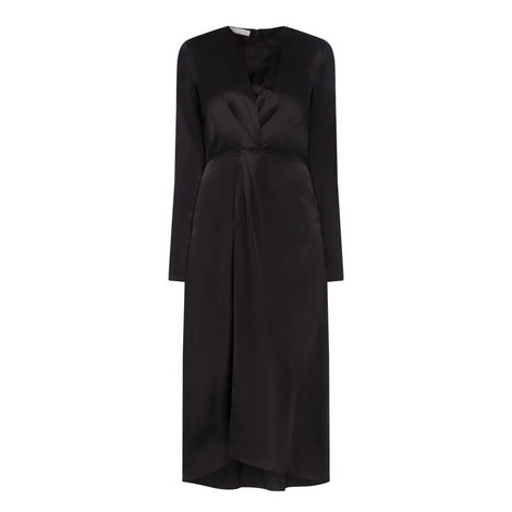 Long Sleeve Silk Dress, ${color}