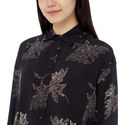 Woodblock Floral Silk Blouse, ${color}