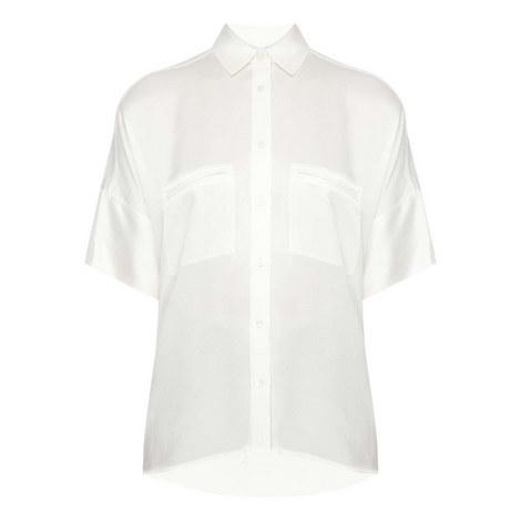 Short Sleeve Silk Blouse, ${color}
