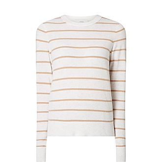 Striped Overlay Cashmere Sweater
