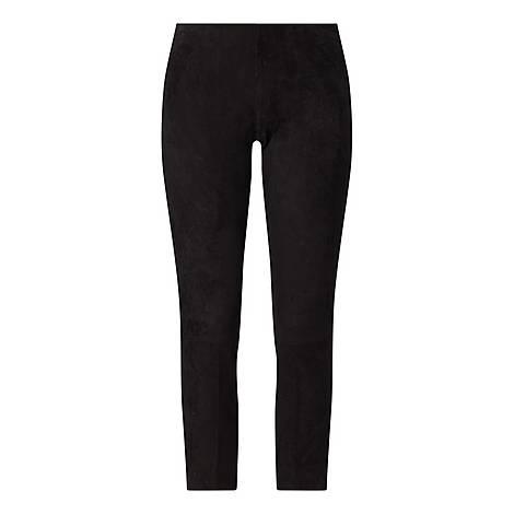 Suede Split Hem Cropped Trousers, ${color}
