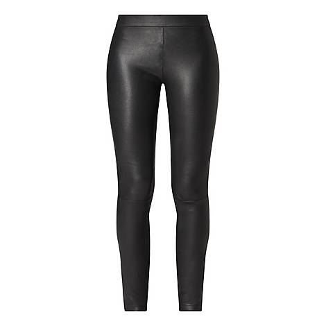 Leather Zip Cuff Trousers, ${color}