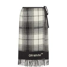 Blanket-Style Check Skirt