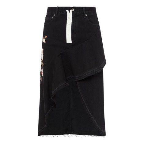 Embroidered Asymmetrical Denim Skirt, ${color}