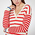 Striped V-Neck Cashmere Sweater, ${color}