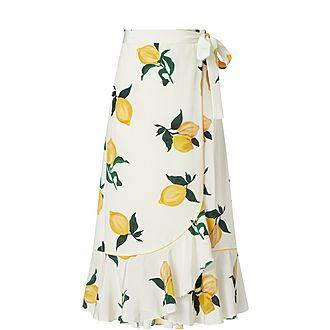 Lemon Print Wrap Skirt