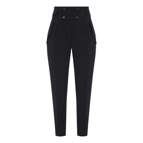 High Waist Tapered Trousers, ${color}