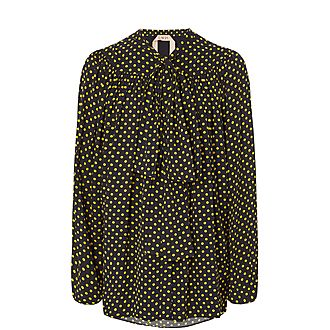 Contrast Dot Blouse