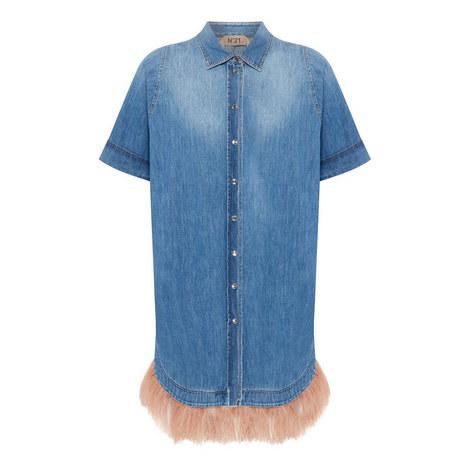 Feather Detail Shift Dress, ${color}