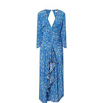 Rose Eye Wave Print Midi Dress
