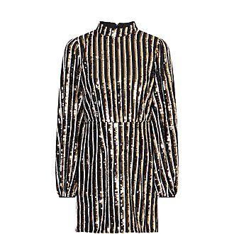 Samantha Striped Sequin Mini Dress