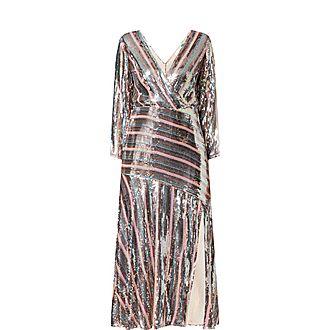 Tyra Sequin Crepe Midi Dress