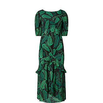 Cheryl Leaf Crepe Dress