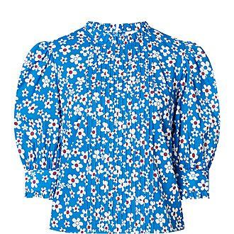 Mandy Micro Dot Floral Cotton Blouse