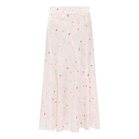 Floral Print Silk Skirt, ${color}