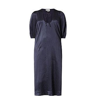 Satin Polka Dot Midi Dress