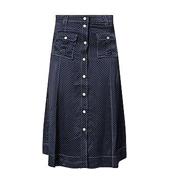 Dotted Satin Skirt