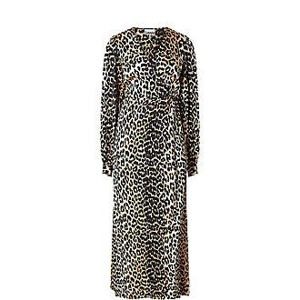 Leopard Print Midi Wrap Dress