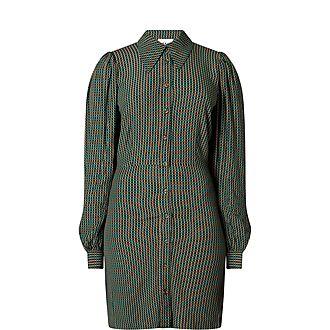 Check Weave Crepe Shirt Dress
