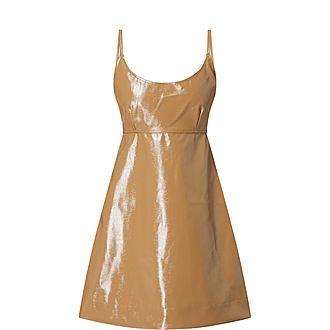 Bow Detail Glossy Mini Dress