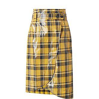 Check Print Glossy High-Waisted Skirt